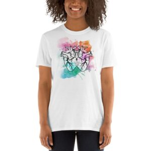 """""""Two Hearts That Beat As One"""" Color Splash Short-Sleeve Unisex T-Shirt"""